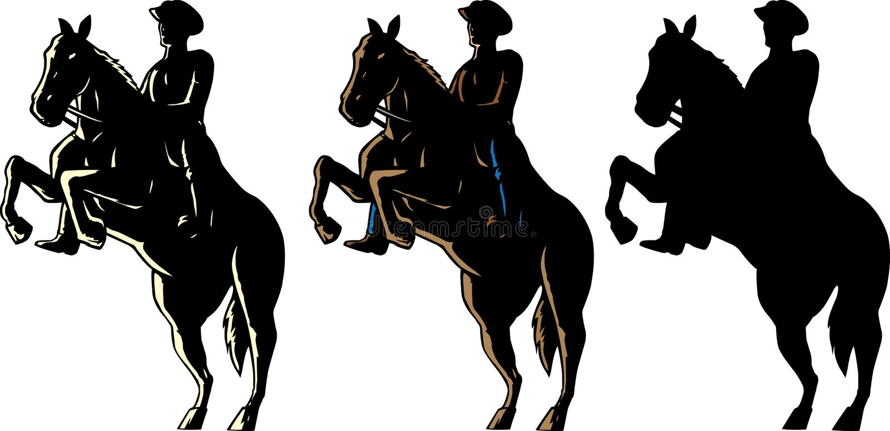 Cowboy e cavalo ilustração royalty free