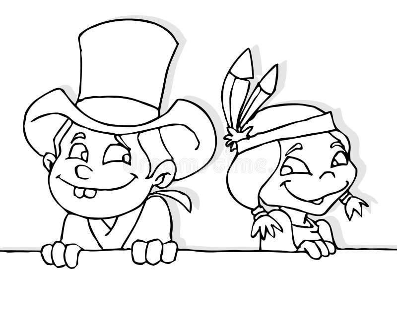 Cowboy e menina indiana ilustração royalty free
