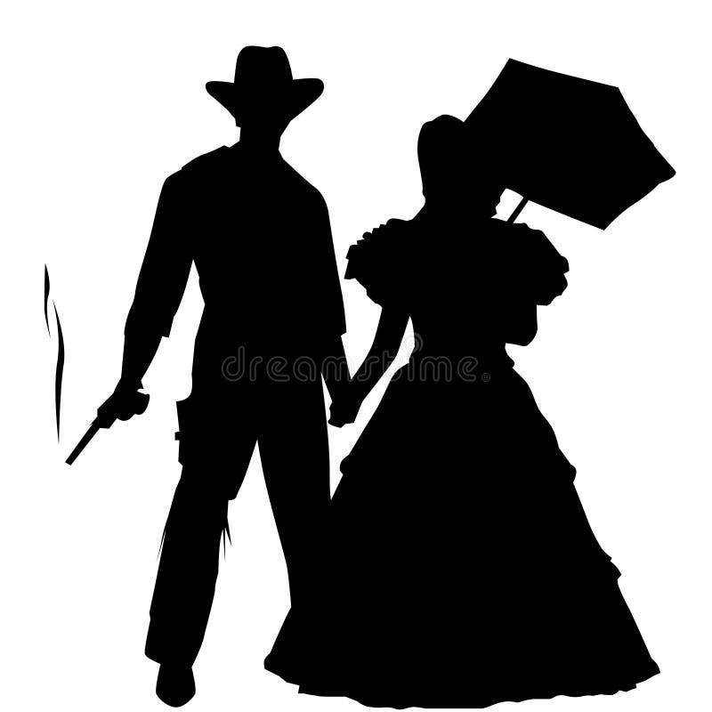 Cowboy e signora Silhouette illustrazione di stock