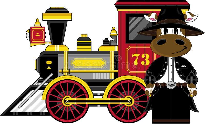 Cowboy e treno della mucca di selvaggi West royalty illustrazione gratis
