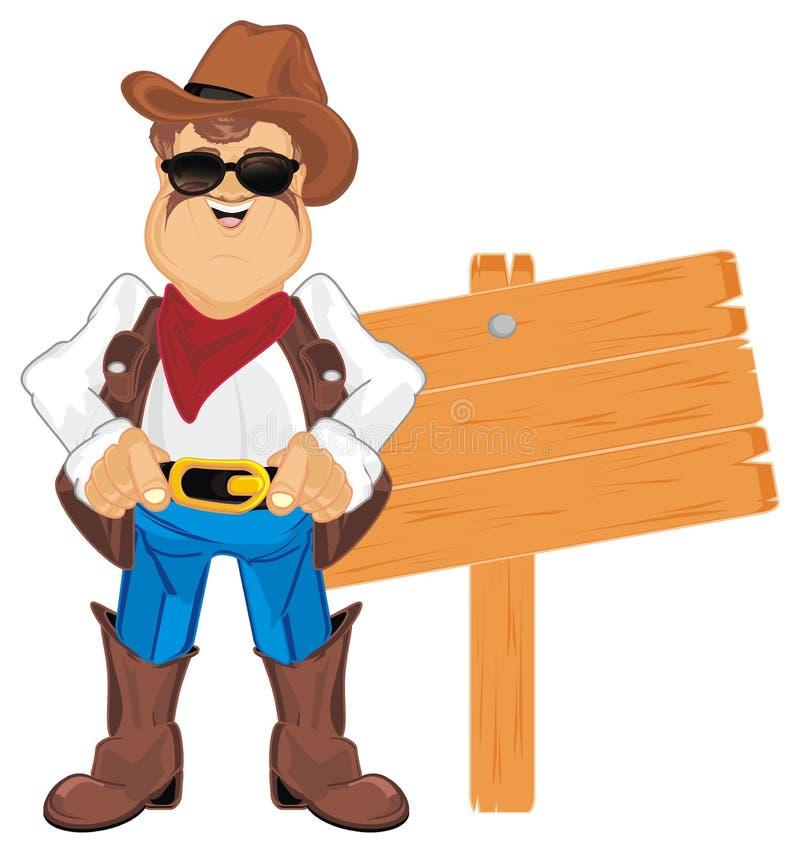 Cowboy ed insegna illustrazione vettoriale