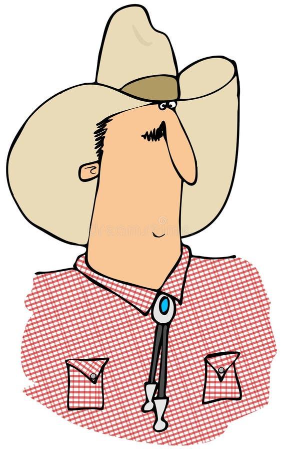 Cowboy in een rood gestreept overhemd royalty-vrije illustratie