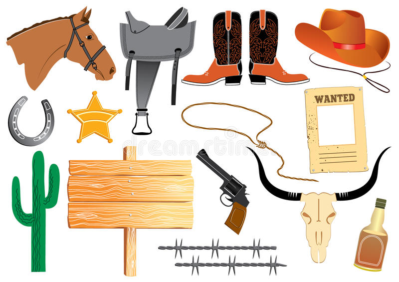 Cowboy elements. West life. Vector silhouettes of clothes for cowboy. West fashion