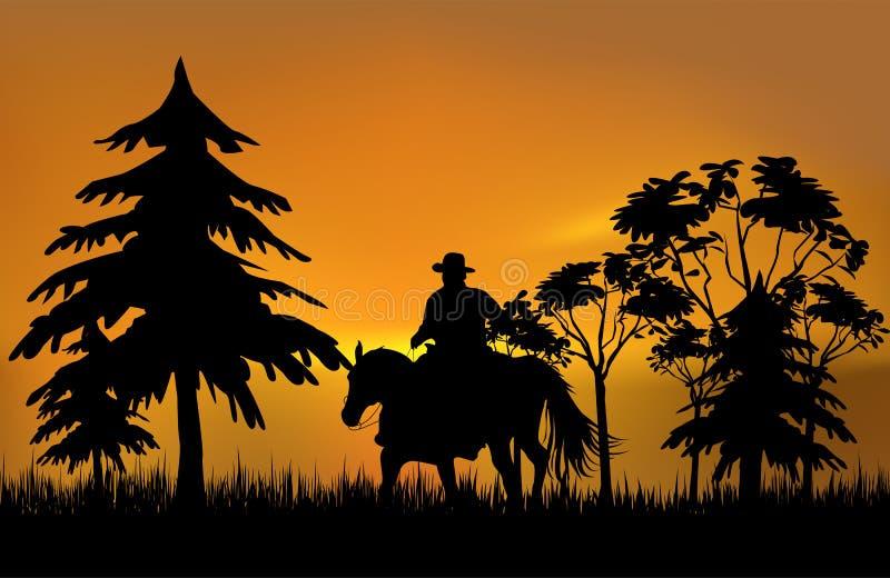 Cowboy em um cavalo