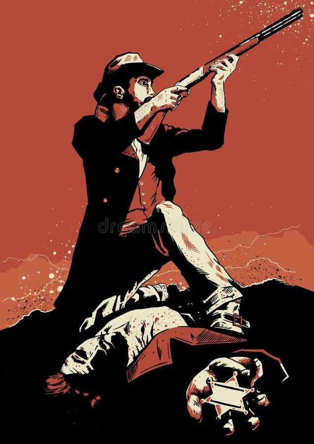 Cowboy em uma cena da luta armada ilustração do vetor