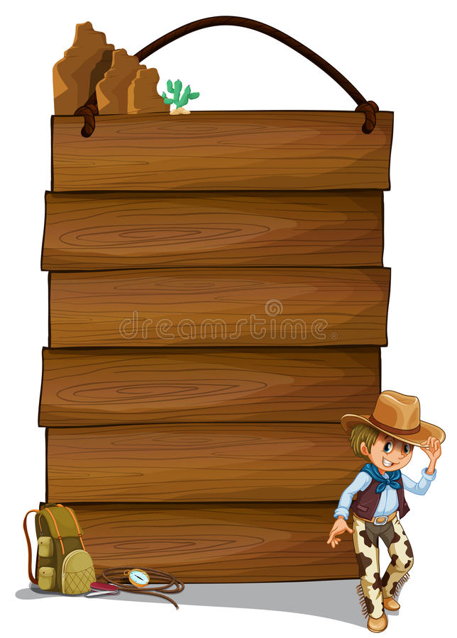 A Cowboy And The Empty Wooden Signboards Stock Photo