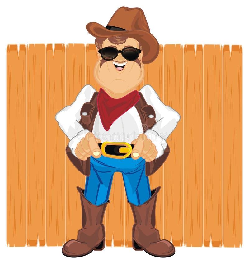 Cowboy en omheining stock illustratie