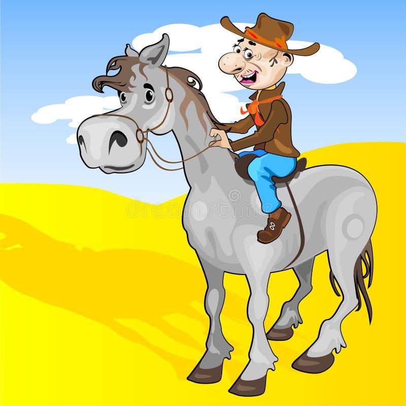 Cowboy en paard stock illustratie
