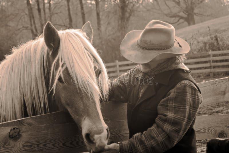 Cowboy en paard/sepia stock afbeelding