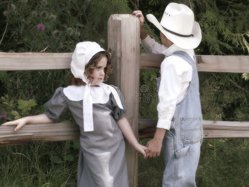 Cowboy en prairiemeisje stock afbeelding