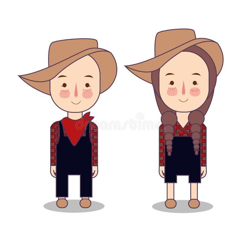 Cowboy et cow-girl Agriculteur America Etats-Unis Caractères drôles de bande dessinée et de vecteur, objets d'isolement illustration de vecteur