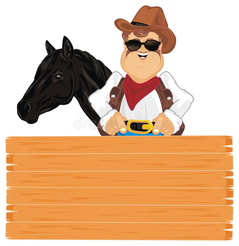 Cowboy et son cheval illustration de vecteur