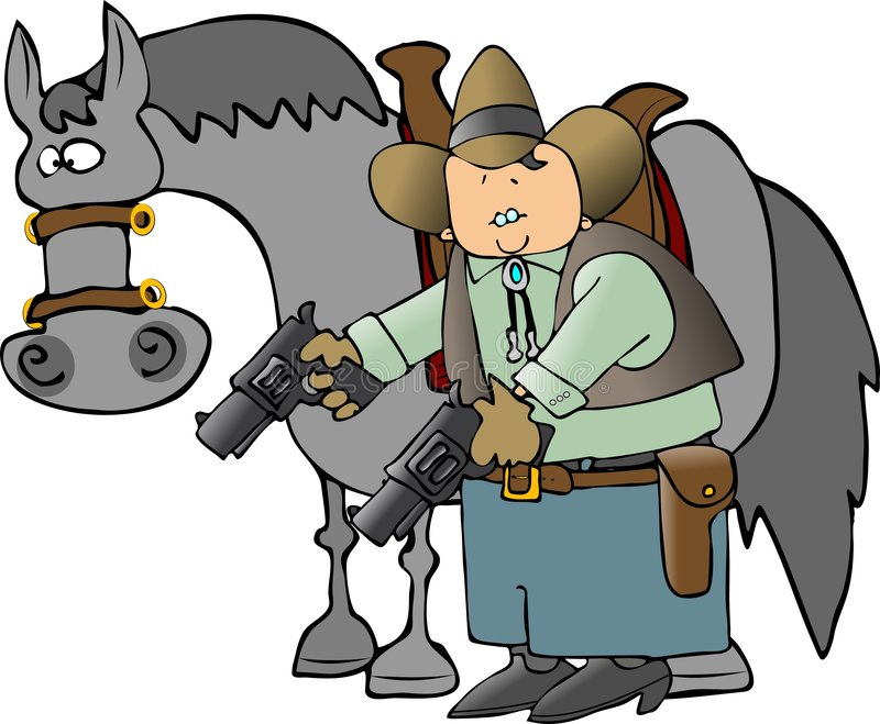Cowboy et son cheval illustration stock