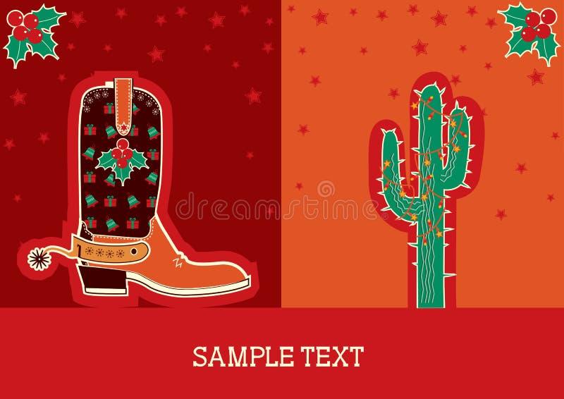 cowboy för jul för kängakaktuskort vektor illustrationer