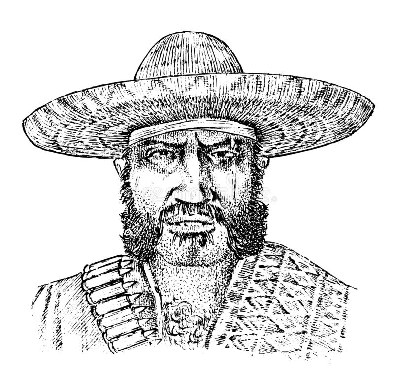 Cowboy face close up. Mexican man. Sheriff in sombrero hat. Western rodeo icon, Texas Ranger, Wild West, Country style stock illustration