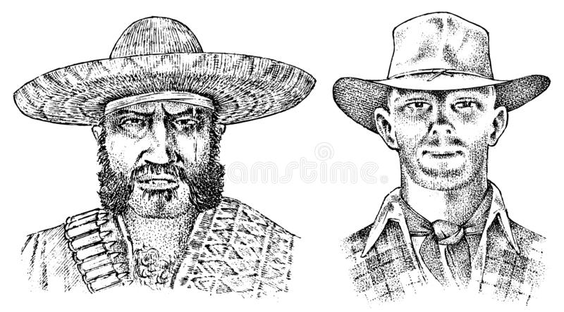 Cowboy face close up. Sheriff and Mexican man in sombrero hat. Western rodeo icon, Texas Ranger, Wild West, Country. Style. Vintage Engraved hand drawn sketch vector illustration