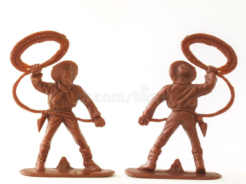 Cowboy figure model toy / Isolated white royalty free stock image