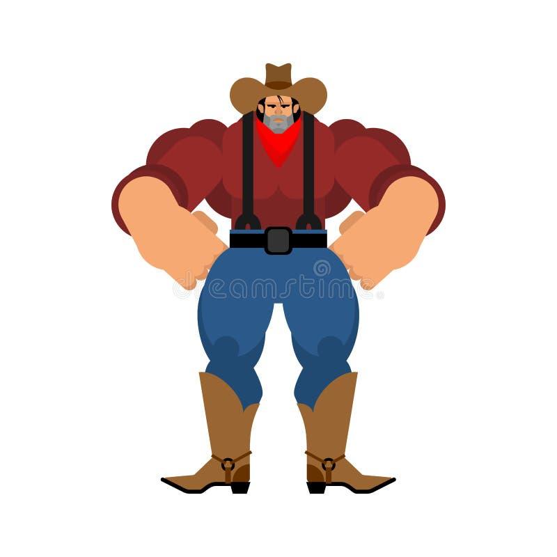 Cowboy fort Bandit occidental sauvage puissant Bodybuilder occidental illustration libre de droits