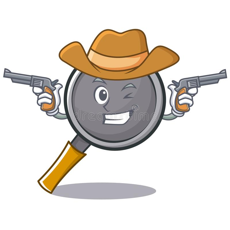 Cowboy frying pan cartoon character. Vector illustration stock illustration