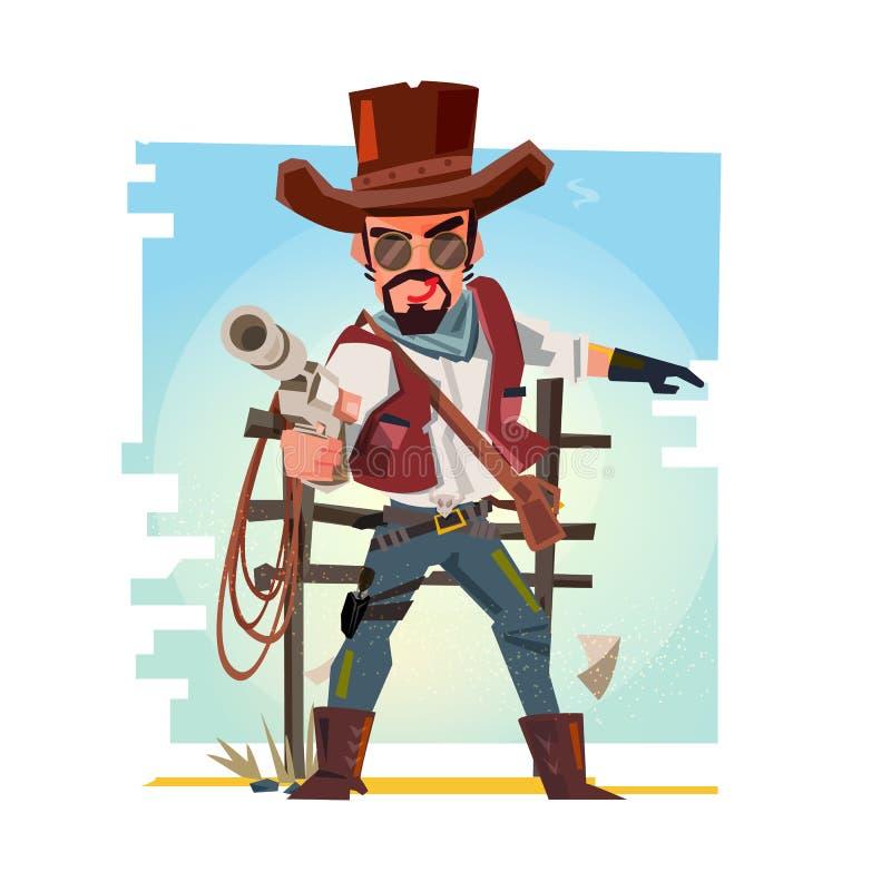 Cowboy futé tenant son arme à feu et visant les armes à feu desi de caractère illustration de vecteur