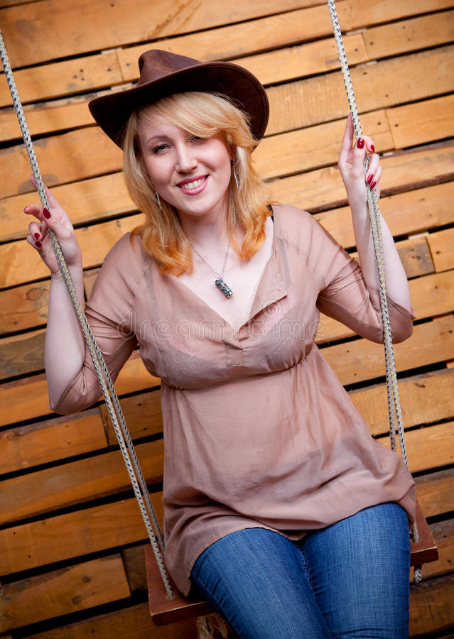 Download Cowboy girl in hat stock photo. Image of happy, cowgirl - 21614904