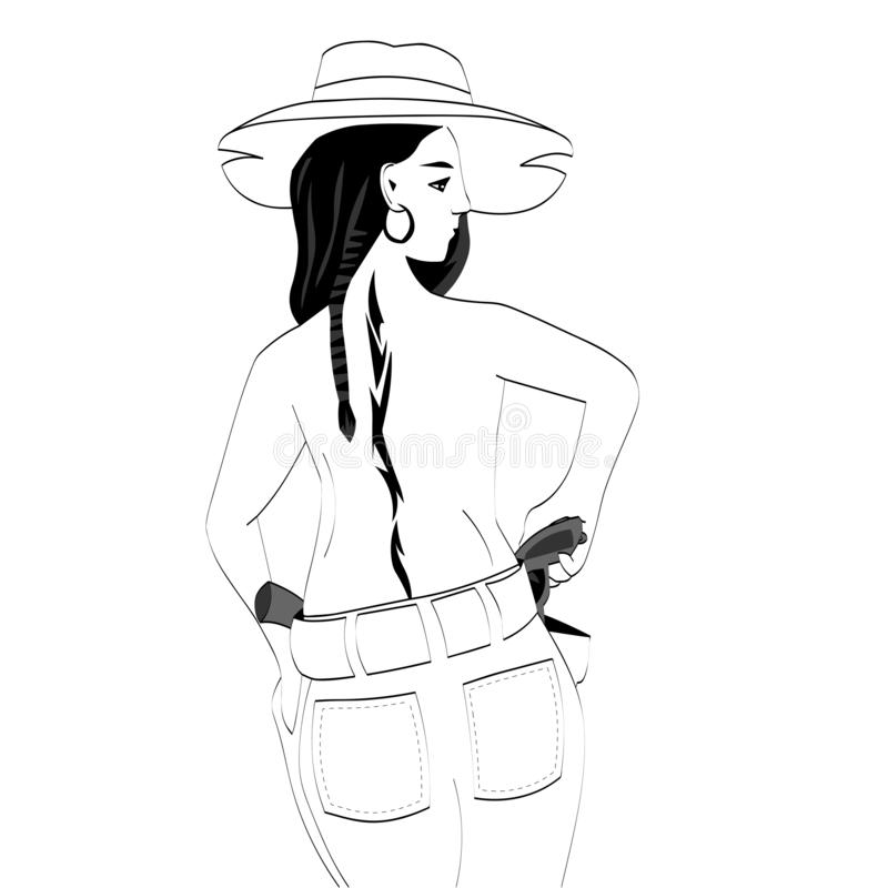 Cowboy girl, tattoo on her back. Vector graphics. Cowboy girl, tattoo on her back vector illustration