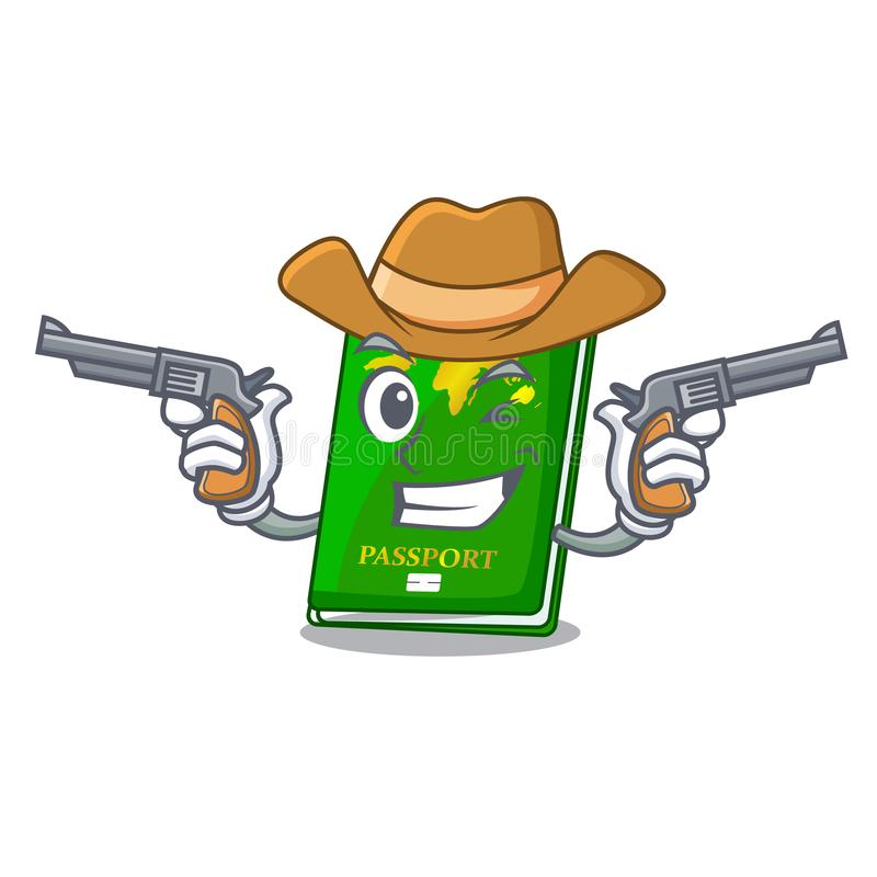 Cowboy green passport in a character bag. Vector illustration vector illustration