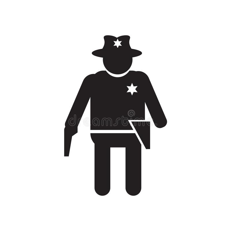 Cowboy with a gun icon vector sign and symbol isolated on white background, Cowboy with a gun logo concept vector illustration