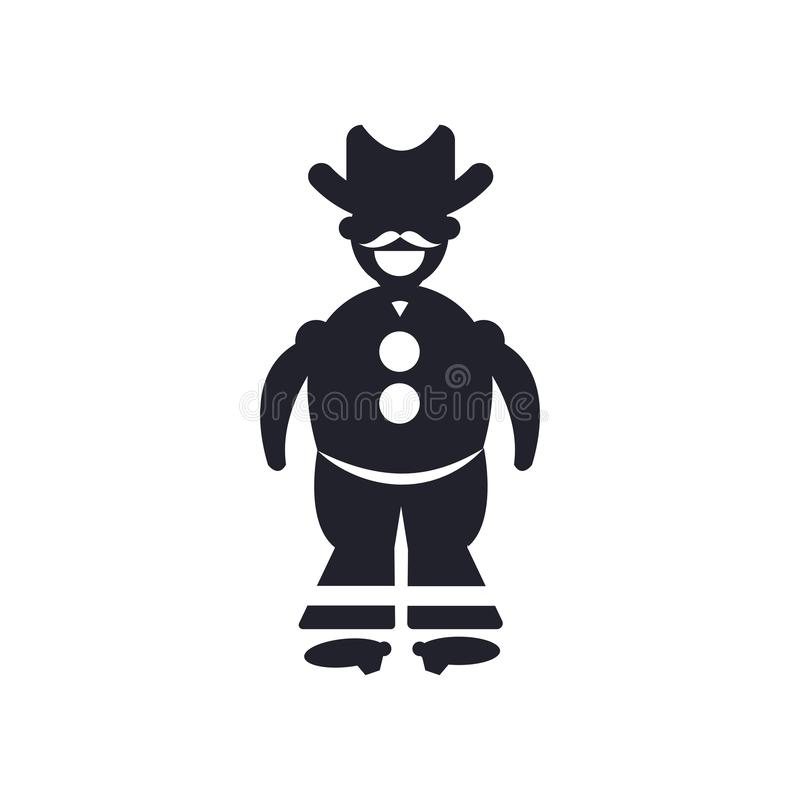 Cowboy with a gun icon vector sign and symbol isolated on white background, Cowboy with a gun logo concept stock illustration