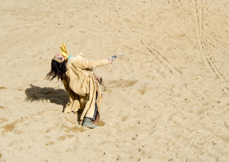Cowboy Gunfight. At Mini Hollywood Spain royalty free stock image