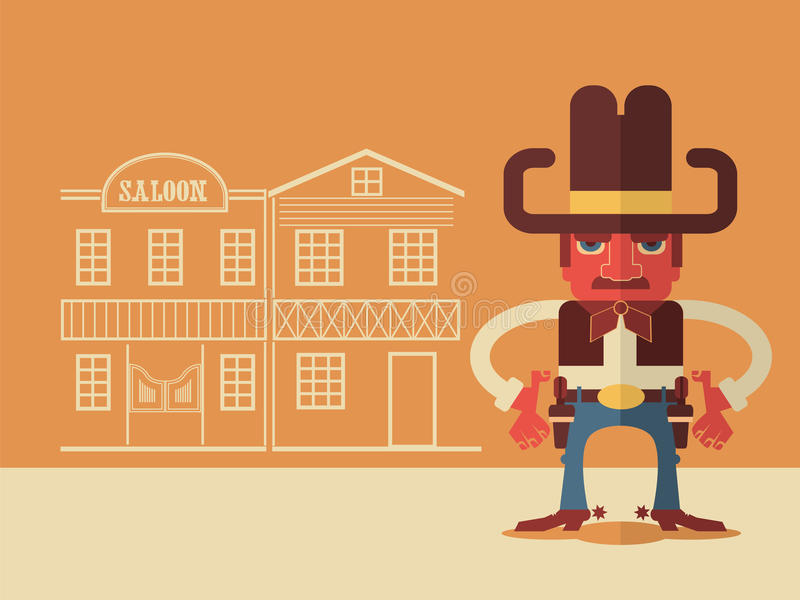 Cowboy with guns vector illustration
