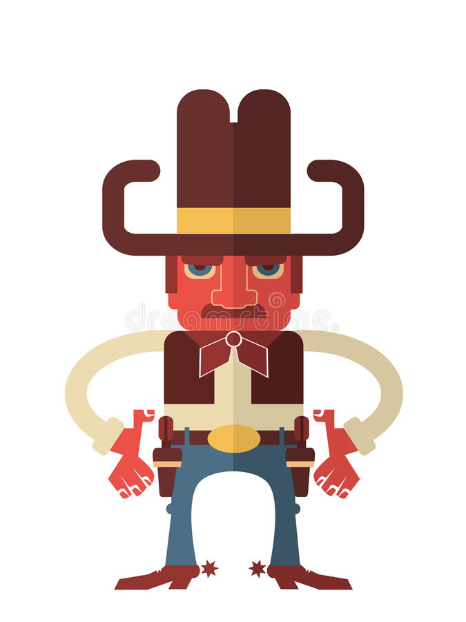 Cowboy with guns.Vector isolated on white stock illustration
