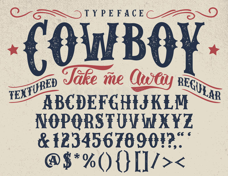 Cowboy handcrafted retro textured typeface stock illustration