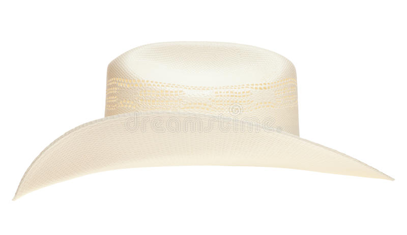 Cowboy hat. A straw cowboy hat isolated on a pure white background royalty free stock images