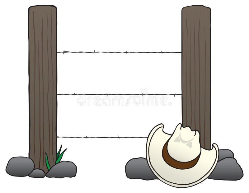 Cowboy Hat auf den Felsen vektor abbildung