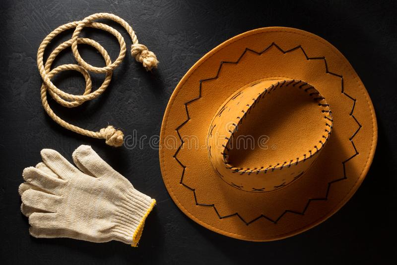 Cowboy hat on wooden background royalty free stock photo