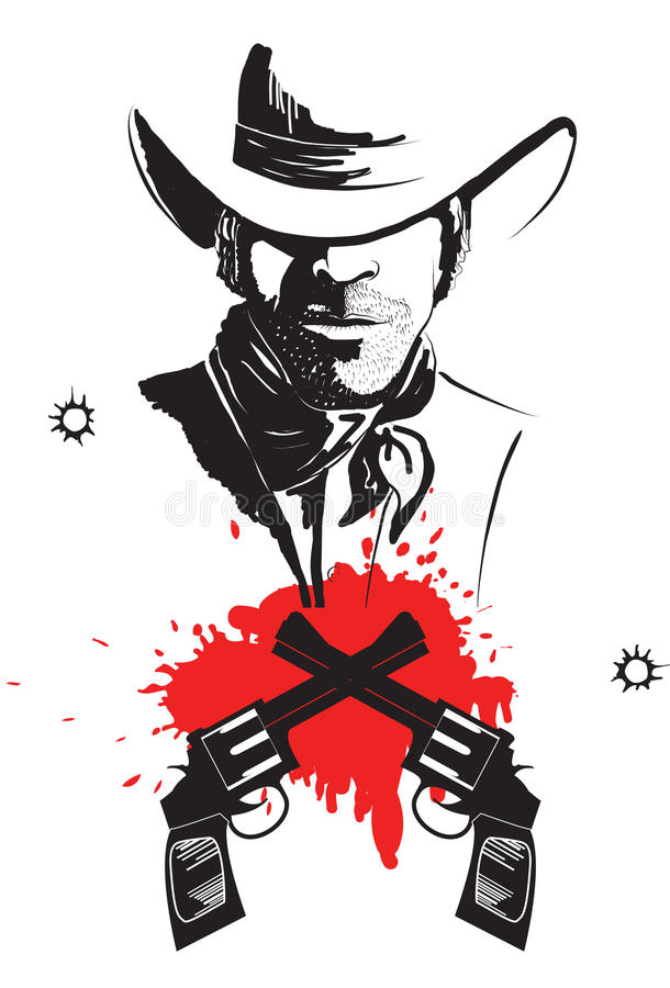 Cowboy in hat with blood guns. stock illustration