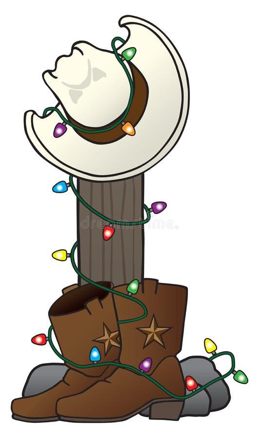 Cowboy Hat de Noël et bottes illustration de vecteur