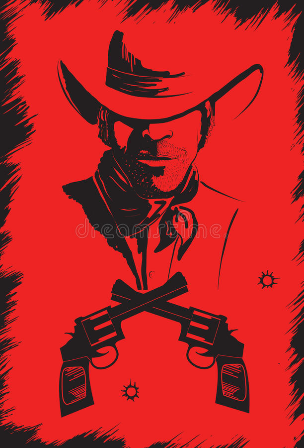 Cowboy in hat with guns. vector illustration