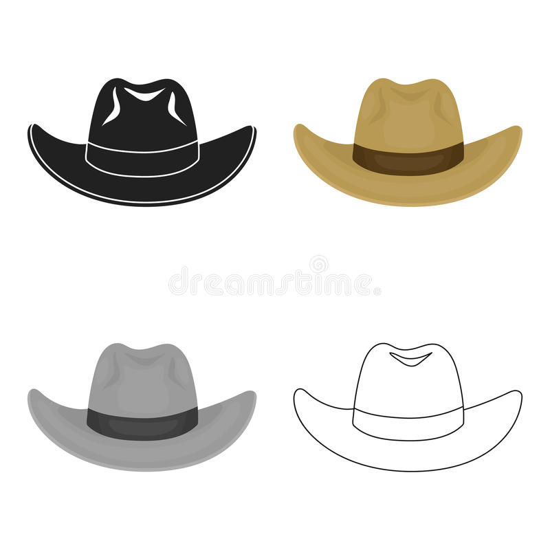 Cowboy hat icon in cartoon style isolated on white background. Hats symbol stock vector illustration. Cowboy hat icon in cartoon style isolated on white royalty free illustration