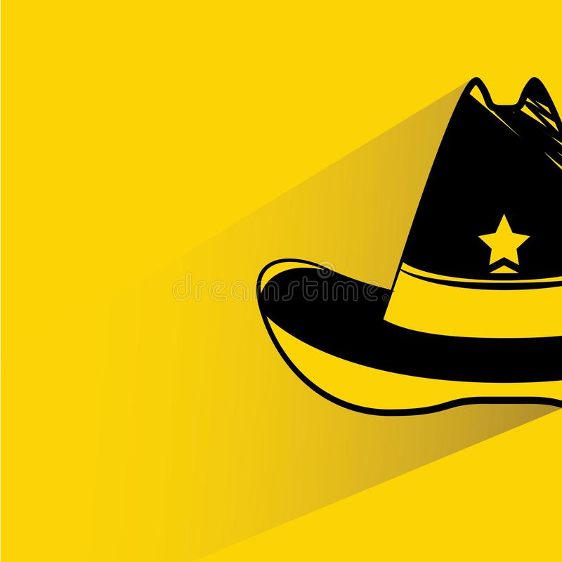 Cowboy hat. With shadow on yellow background stock illustration