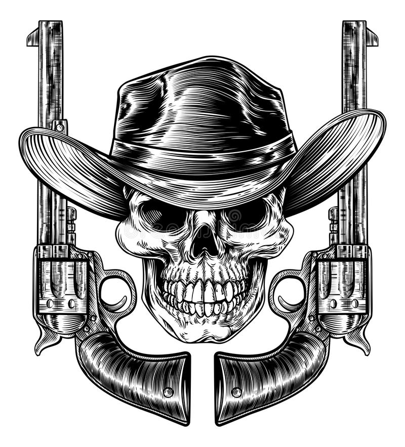Cowboy Hat Skull och pistoler stock illustrationer