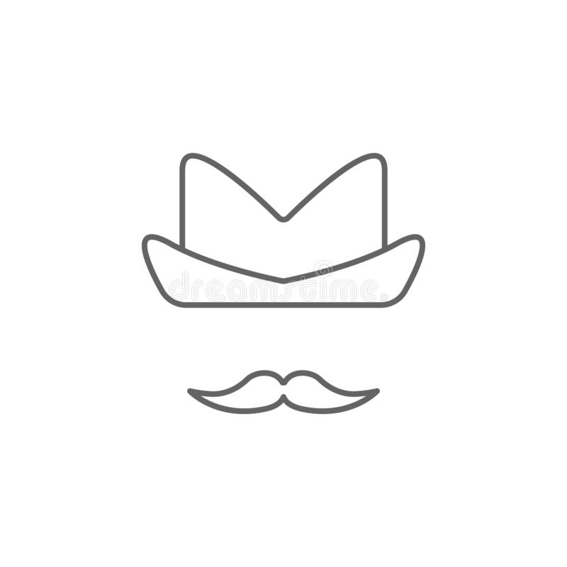 Cowboy hat USA outline icon. Signs and symbols can be used for web, logo, mobile app, UI, UX stock illustration