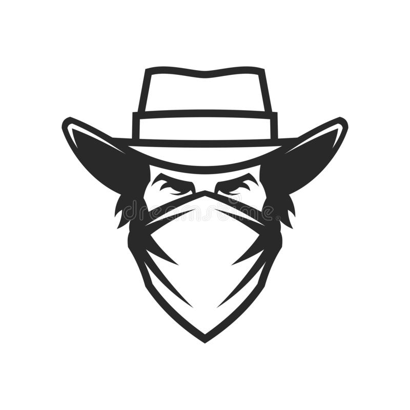 Male head in cowboy hat and bandana stock illustration