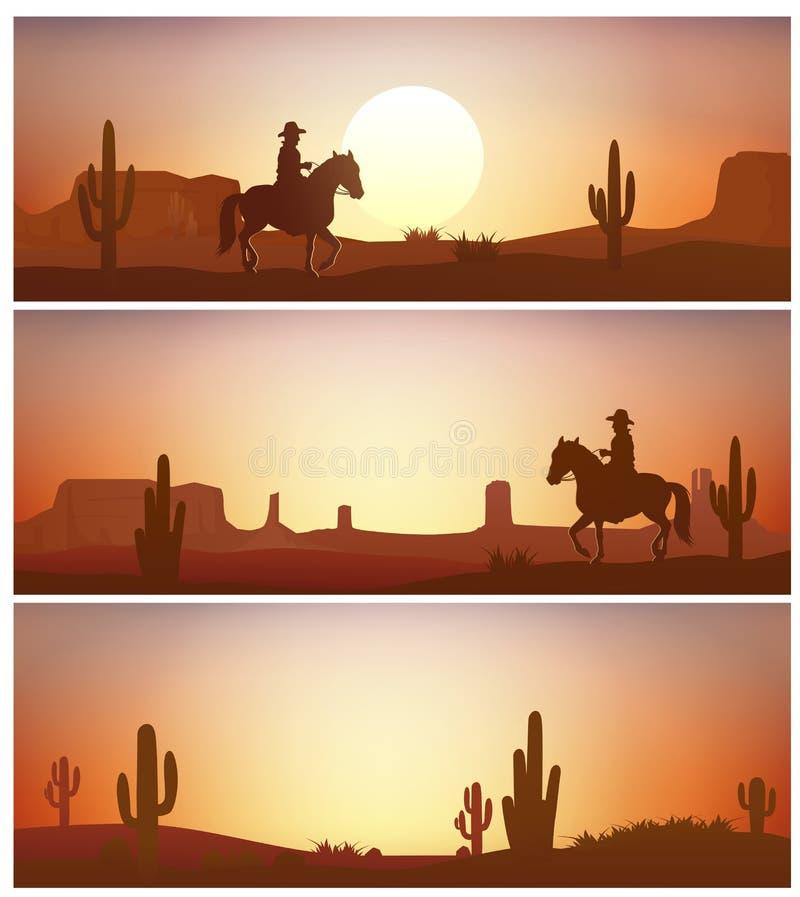 Cowboy het berijden paard tegen zonsondergangachtergrond Wilde westelijke silhouettenbanners stock illustratie