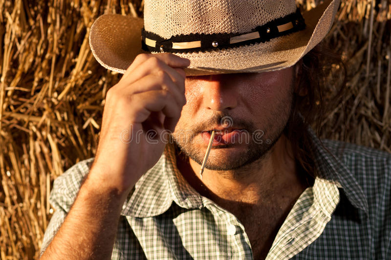 Cowboy Holding His Hat royalty free stock images