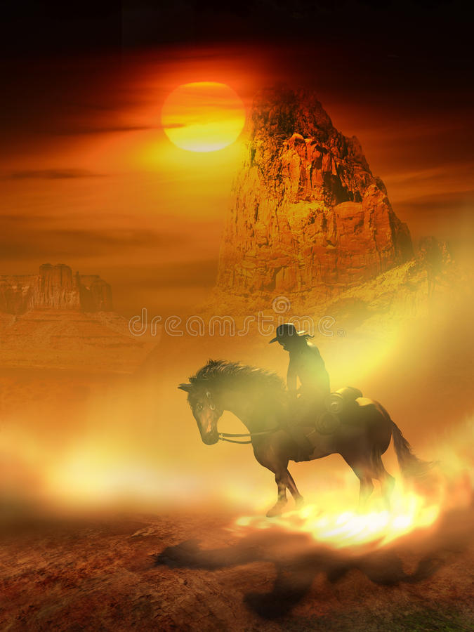 Cowboy and horse in the desert stock illustration