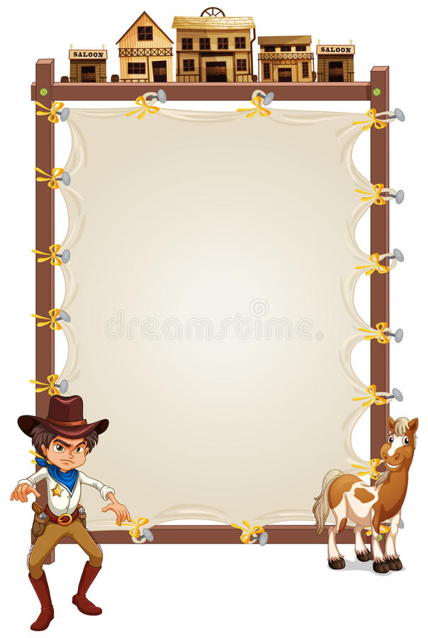 Download A Cowboy And A Horse In Front Of An Empty Signage Stock Vector - Image: 33316077