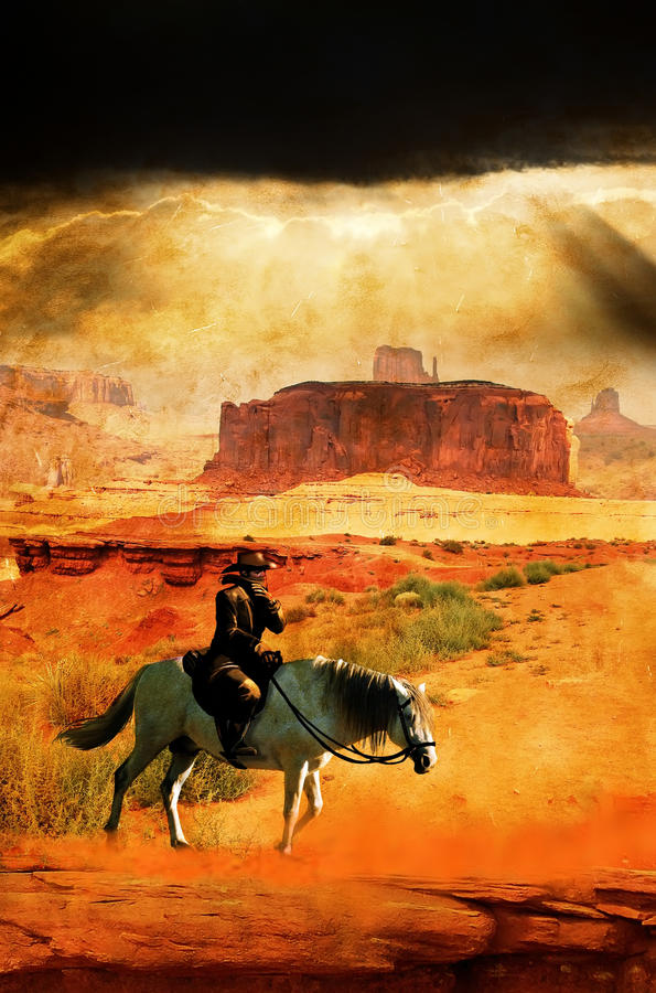 Cowboy and horse on grunge. A Cowboy crosses Monument Valley , in the Navajo Nation, with his horse, on a grunge background. Grunge gives to the image a stock illustration