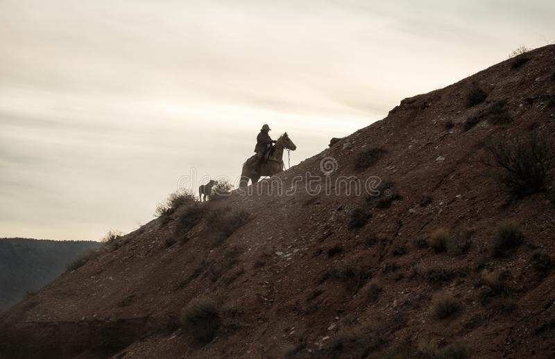 A cowboy and his dog near sundown stock photography